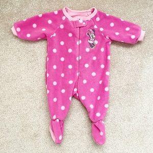 Pink polka dot Minnie Mouse footed fleece pajamas